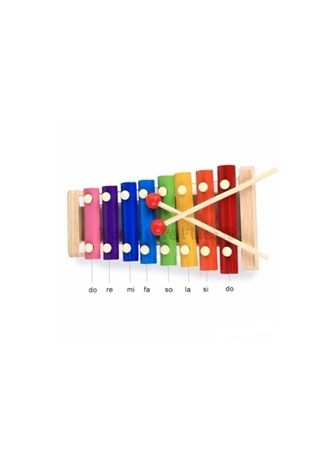 Happy Toys Ahşap Ksilofon Sesli Selefon 8 Nota 8 Ton 8 Tuşlu Eğitici Oyuncak Renkli